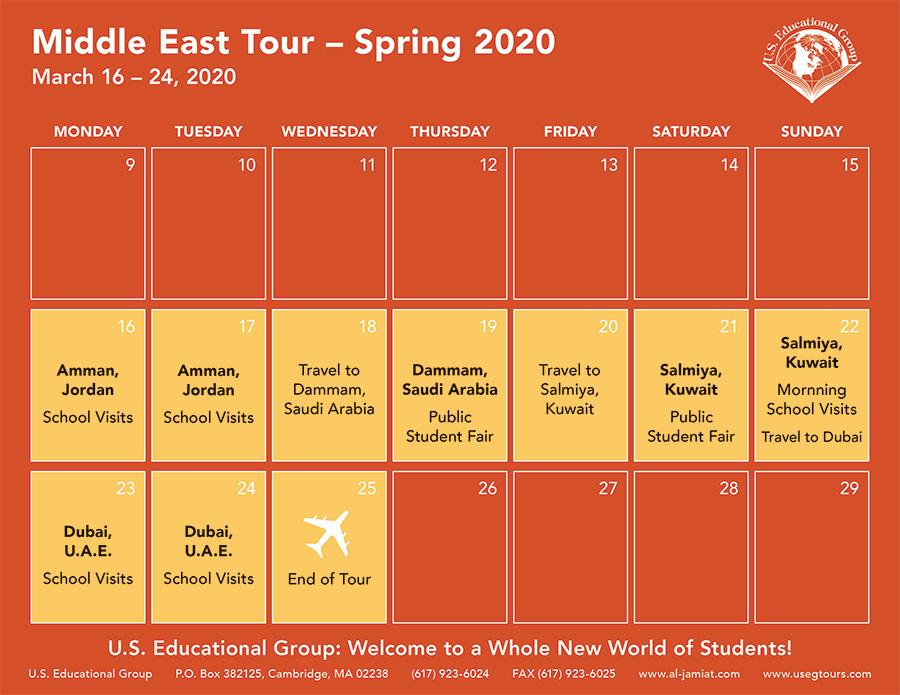 Middle East Calendar Spring 2020