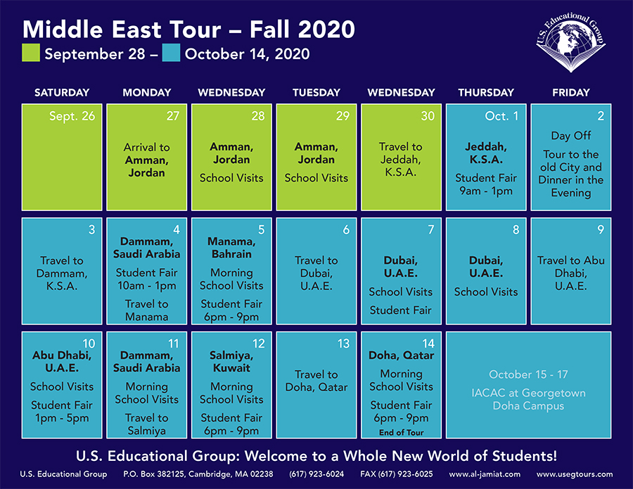 Middle East Calendar Fall 2020