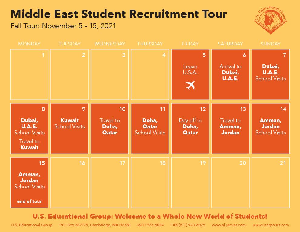 Middle East Calendar Fall 2021